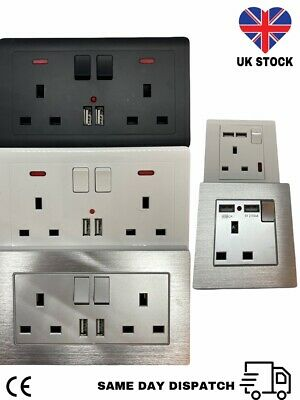 £8.49 • Buy Single & Double Wall Plug Socket  13A W/ 2 Charger USB Ports Outlets Flat Plate