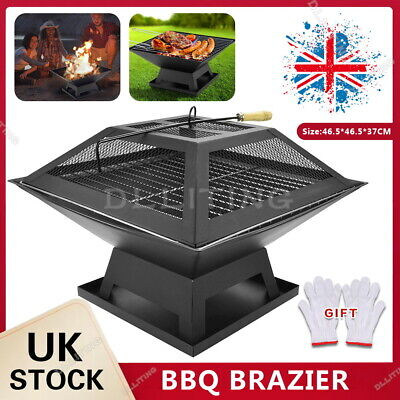 £29.99 • Buy Fire Pit Firepit Brazier Square Stove Patio Heater W Bbq Grill Outdoor Garden
