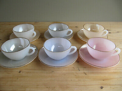 £31.60 • Buy Set Of 6 Vintage French Arcopal Harlequin Cups And Saucers