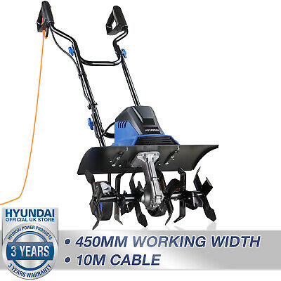 £160 • Buy Electric Tiller Rotavator Cultivator Garden Corded 1500W 450mm 10m Cable HYUNDAI