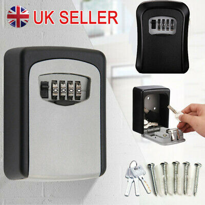 £11.78 • Buy 4 Digit Wall Mounted Key Safe Box Outdoor High Security Code Lock-Storage