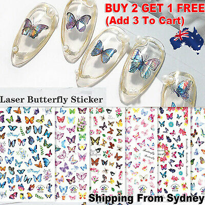 AU2.99 • Buy NEW 3D Nail Decor Decal Stickers Nail Art Accessories Colorful Butterfly Design