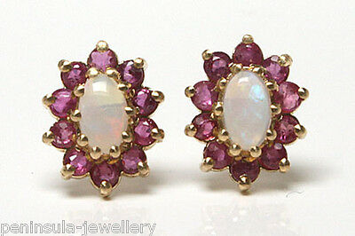 £89.99 • Buy 9ct Gold Opal And Ruby Cluster Stud Earrings Gift Boxed Made In UK