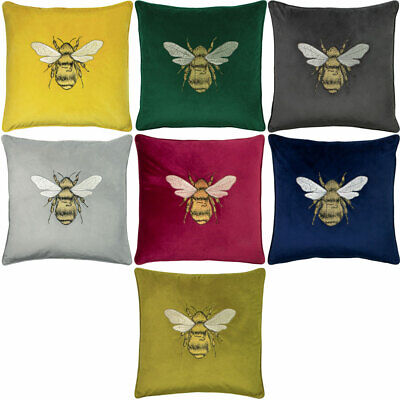 £14.49 • Buy Paoletti Hortus Bee Embroidered Velvet Piped Edge Cushion Cover