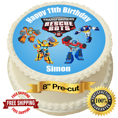 £4.50 • Buy Transformers Rescue Bots Personalised 8  Round Edible Cake Topper Icing Sheet