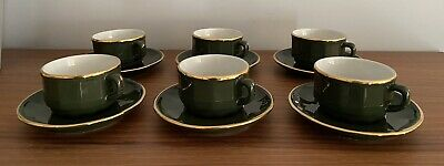 £34.99 • Buy APILCO Green & Gold French Porcelain 6 Coffee Cups & Saucers Vgc #