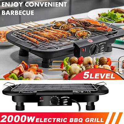 £22.59 • Buy 2000W Electric Grill BBQ Barbecue Table Top Hot Plate Smokeless Camping Cooking