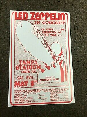 $7.99 • Buy Led Zeppelin May 5 1973 Tampa Florida Cardstock Concert Poster 12  X 18