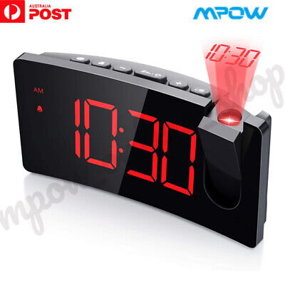 AU33.79 • Buy Mpow LED Digital Projection Snooze Alarm Clock Time Projector With USB Charger