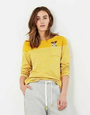 £29.95 • Buy Joules Womens Harbour Embroidered Long Sleeve Jersey Top - Gold Cream Stripe