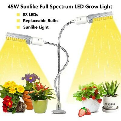 £12.90 • Buy Full Spectrum LED Grow Light Clip On Dual Head Lamp For Indoor Greenhouse Plant