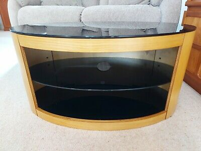 £49 • Buy Tv Cabinet Wood And Black Glass