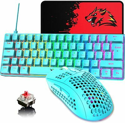 AU60.80 • Buy Wired 60%True Mechanical Gaming Keyboard Mouse Set Rainbow Backlit For PC PS4 AU