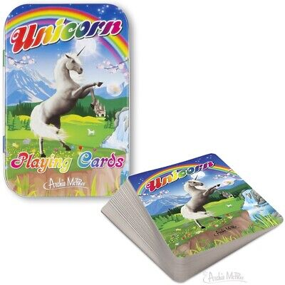 """£6.95 • Buy Archie McPhee """" Unicorn """"Playing Cards In Tin Box"""