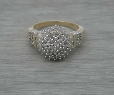 £350 • Buy Ladies 9ct Yellow Gold 100 Points 1ct Diamond Large Cluster Ring,UK Size T