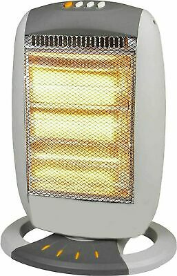 £21.99 • Buy 1200W Halogen Heater Instant Portable Electric Oscillating 3 Bar Home Office UK