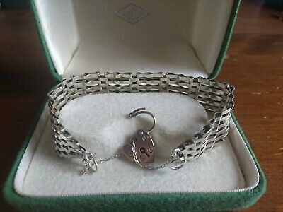£29 • Buy Sterling Silver 6 Bar Gate Bracelet With Padlock & Safely Chain.