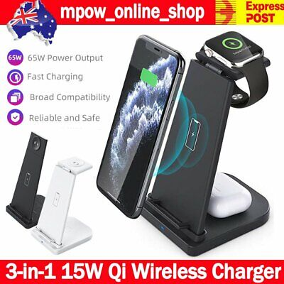 AU35.99 • Buy 3 In 1 15W Wireless Charger Dock For Apple Watch IPhone 11/ 12 Pro Airpod Pro