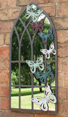 £63.85 • Buy Church Style Arched Window Garden Mirror Outdoor Metal Frame With Butterflies UK