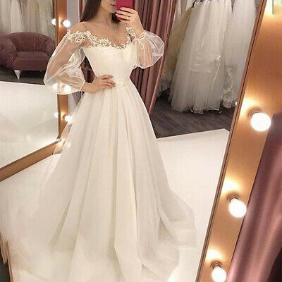 £15.89 • Buy Women's Lace Long Sleeve Maxi Dress Wedding Party Ball Gown Bridesmaid Dresses