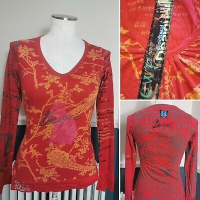 £22.99 • Buy Desigual Long Sleeve Top Red XS Floral Bird Print V Neck Tee Spellout Logo 6-8