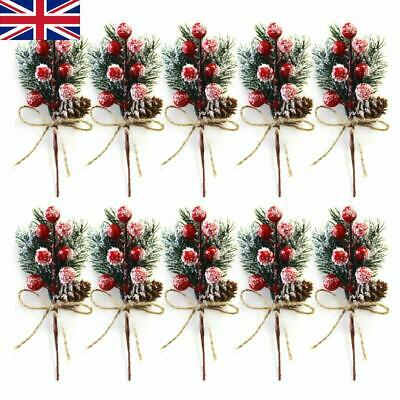£3.59 • Buy 5/10Pc Fake Snow Frost Pine Branch Cone Berry Holly Xmas Tree Christmas Ornament