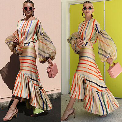 £17.19 • Buy Womens Balloon Sleeve Striped Frill Fishtail Maxi Dress Evening Party Prom Gown