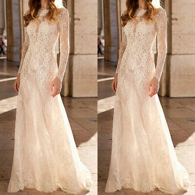£16.39 • Buy Women's Solid Lace Long Sleeve Ball Gown Dress Wedding Bridesmaid Maxi Dresses