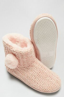 £9.99 • Buy Bnwt New Ladies Dorothy Perkins Slippers Boots Size Small Uk 3/4 Blush Pink Fur
