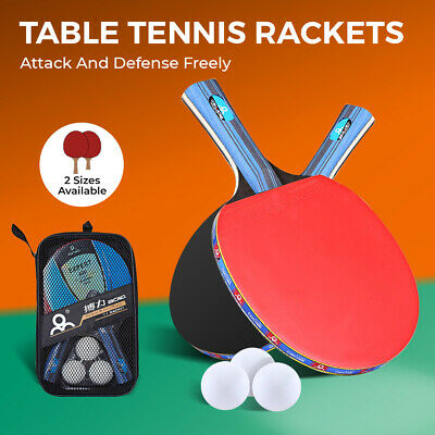 AU23.74 • Buy 1 Pair Table Tennis Ping Pong Racket  Professional Paddle Bat With Cover+3 Balls