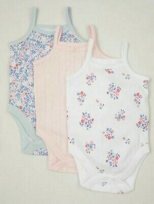 £6.99 • Buy Nutmeg Baby Girls Cami Vests Bodysuits 3 Pack Strappy Pink Sleeveless Floral NEW