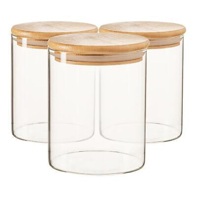 £12.99 • Buy 3x Scandi Glass Storage Jars With Wooden Lids Kitchen Pantry Food Canister 750ml
