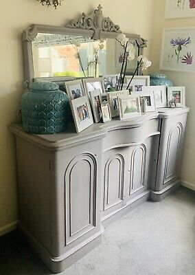 £360 • Buy Antique French Style Mirrored Sideboard/Cabinet/Dresser/Chiffonier - Grey