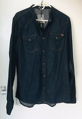 £46 • Buy Mens Blue DIESEL Denim Shirt, XXL Collarless Adapted From Sonora Style. Stud Fas