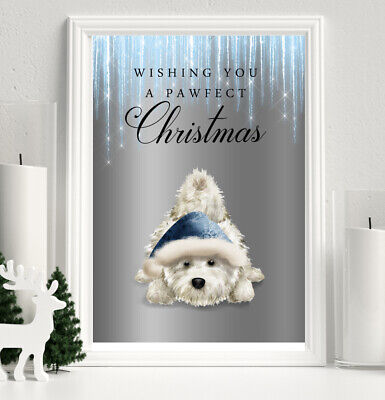 £4.74 • Buy Westie Dog Christmas Print Blue Silver DIGITAL Glitter Icicle Winter Picture 5