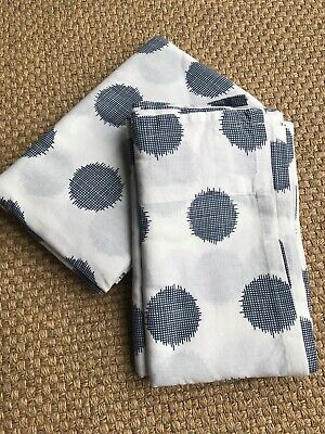£15 • Buy Fab Ikea Tab-top Curtains, Cotton, 140cm Wide, White With Large Blue Spots
