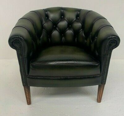 £175 • Buy Chesterfield Style Green Leather Tub Chair Excellent Condition