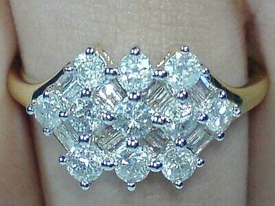 £595 • Buy  9ct Gold Hallmarked 1.00 Carat  Real Natural Diamond Heavy Cluster Ring Size S