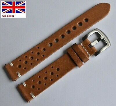 £13.99 • Buy HANDMADE Tan Italian Perforated Leather Rally Style Watch Strap 18 20 22 24mm