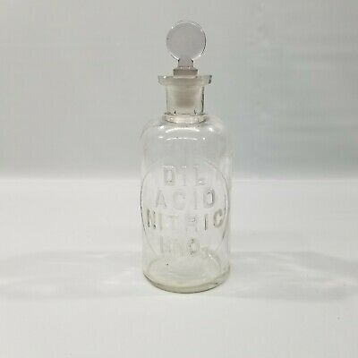 £18.10 • Buy Vintage DIL Nitric Acid HNO3 250ml Glass Jar With Tapered Stopper