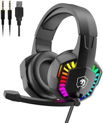 AU26.99 • Buy Gaming Headset 3.5mm Stereo RGB Backlit Noise Canceling For PC PS4 Xbox Laptop