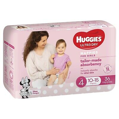 AU26.36 • Buy Huggies: Ultra Dry Girl Nappies Size 4 (36 Pack)