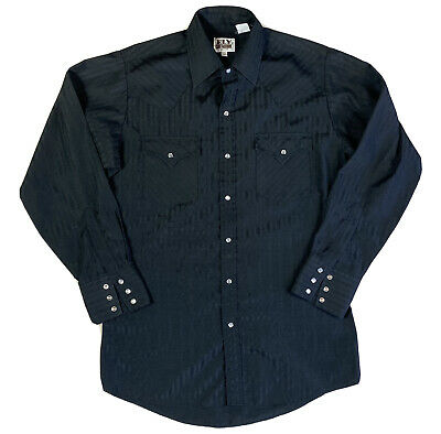 £23.83 • Buy Ely Cattleman Vintage Mens Pearl Snap Button Up Black Shirt Size 15 / Large