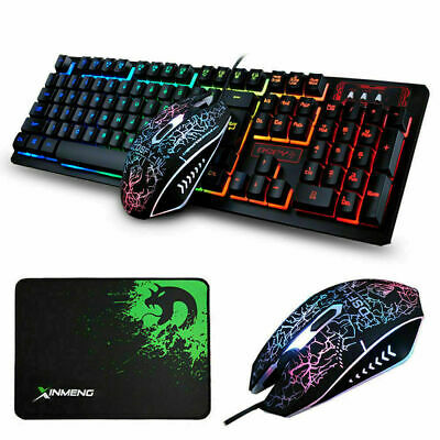 AU29.99 • Buy Gaming Keyboard And Mouse Sets Wired+Mouse Pad Rainbow Backlit 104key For PC PS4
