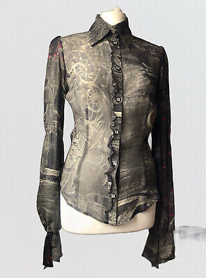 £50 • Buy Bazar Lacroix Pure Silk Button Up Fitted Shirt Blouse Gothic Bell Ruffle 38