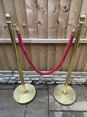 £75 • Buy Vintage Heavy Brass Queue Crowd Control Rope Barrier VIP RED CARPET