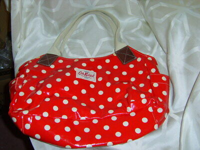 £15.95 • Buy CATH KIDSTON Red Spotty Tote Oil Cloth Bag Canvas Handles *Read Des Marks Inside