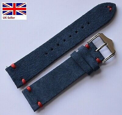 £12.99 • Buy Suede Leather Vintage Style Watch Strap With Contrast Stitch, QR Strap 22mm 24mm