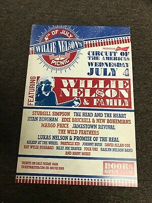 $7.99 • Buy Willie Nelson Sturgill Simpson 2018 July 4 Picnic Cardstock Concert Poster 12x18
