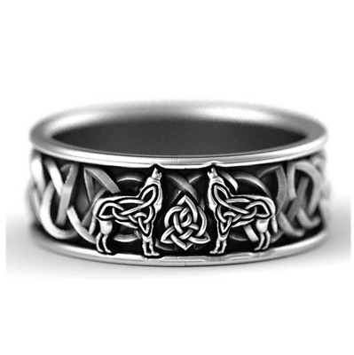 AU7.99 • Buy NEW AU UNISEX Stainless Steel Celtic Knot Woof Pattern Vintage Style Ring Gift